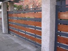 17 Elegant Gates To Transform Steel Gate Design, Main Gate Design, Fence Design, Double Doors Exterior, Landscape Curbing, Wooden Gates, Deck Railings, Backyard, Patio