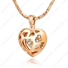 Promotion gift 18K Gold Plated Use Swarov Crystal Heart To Love Gorgeous Pendant Necklace N030R1