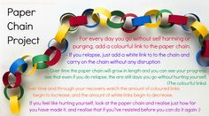 PAPER CHAIN PROJECT - For every day you go without self harming or purging, add a colourful link to the paper chain- If you relapse, just ad...