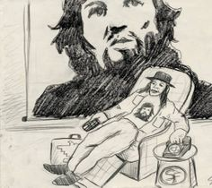 """This pencil sketch depicts a scene from Culture Clash's """"A Bowl of Beings,"""" in which deceased revolutionary Ernesto """"Che"""" Guevara visits a modern Chicano activist. """"A Bowl of Beings"""" is based around themes of Chicano identity, wit, and wisdom. """"A Bowl of Beings"""" ran for six months at the Los Angeles Theatre Center, and Culture Clash adapted it for television for a 1992 episode of PBS's Great Performances series. Culture Clash Collection. Latino Cultural Heritage Digital Archives."""