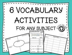 Or language arts classroom this pack of 6 vocabulary activities