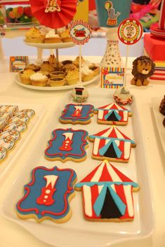 Check out these cookies at a circus birthday party! See more party ideas at CatchMyParty.com!