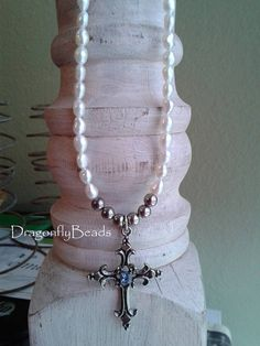 Cross Necklace Cross Jewelry Pearl Necklace Pearl by DflyBeads