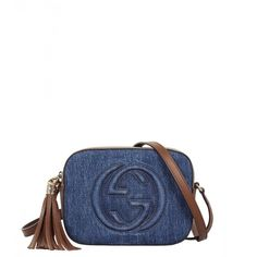 Gucci Blue Denim Soho Cross Body Bag (11.855 ARS) ❤ liked on Polyvore featuring bags, handbags, shoulder bags, gucci purse, blue handbags, crossbody shoulder bag, blue shoulder bag and gucci crossbody