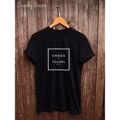 Chanel tshirt Parody chanel parody tshirt, funny tshirt, fun chocolate... (£14) ❤ liked on Polyvore featuring tops, t-shirts, white t shirt, white cotton tee, slogan t shirts, chocolate t shirts and white tee