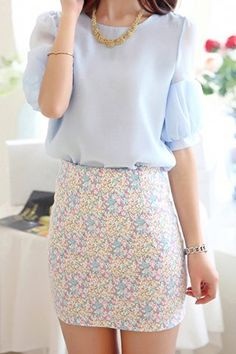 Stylish Scoop Neck Puff Sleeve Blouse and Printed Skirt Suit For Women