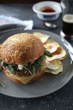 Crunchy Chickpea Burgers with Tangy Sauce - and Homemade Crisps | The Flourishing Foodie