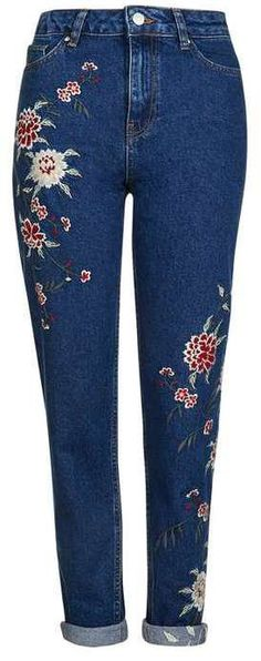 The Ultimate Guide to Fall's Hottest Denim Trends  Topshop Moto Dark Embroidered Mom Jean ($110)