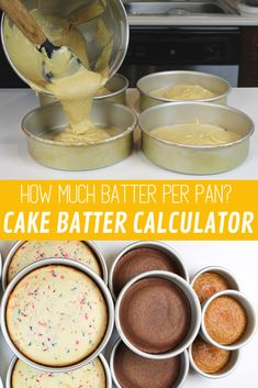 How Much Cake Batter Do I Need Per Pan? Easy Guide - Chelsweets Learn exactly how much cake batter you need per pan, using my easy guide! It shares how many cups of batter you need for different sized cake layers Baking Business, Cake Business, Cake Decorating Techniques, Cake Decorating Tips, Cupcakes, Cupcake Cakes, Cake Icing, Eat Cake, Baking Tips