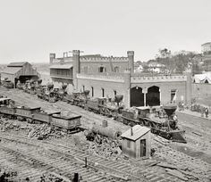 """1864. """"Nashville, Tennessee. Rail yard and depot with locomotives."""""""