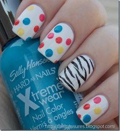 Zebra Accent Nails