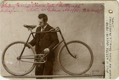 """ca. 1896, """"Whitney's Bicycle Chain Protector"""", [cabinet card, portrait of a gentleman with displaying his patent model. On verso, a U.S. Pat..."""