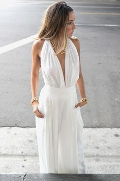 White Halter Plunge Neck Ruched Bust Backless Palazzo Jumpsuit | Choies