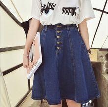 2015 frete grátis nova chegada denim saias das mulheres a linha de jeans de botão saia na altura do joelho saia jeans