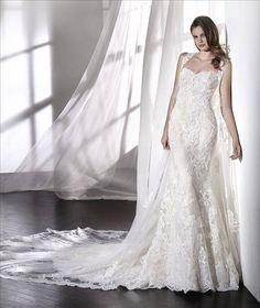 wedding dresses lace, Charming Tulle & Lace Sweetheart Neckline Mermaid Wedding Dress With Lace Appliques & Beadings & Detachable Shawl DressilyMe UK San Patrick, Wedding Dresses 2018, Bridal Dresses, Tulle Lace, Lace Dress, Beaded Lace, Bridal Dress Design, Popular Dresses, Bride