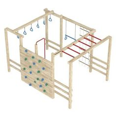 Picture of Wooden jungle gym or climbing frame with handholds, footholds and ropes isolated on a white background stock photo, images and stock photography. Image 15518928.