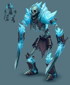 Frozen Maze – Ice Skeleton warrior, Diana Franco - Sites new Fantasy Character Design, Character Concept, Character Inspiration, Character Art, Game Character Design, Game Concept Art, Game Design, Monster Art, Monster Design