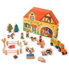 * Janod Wooden Toy STORY Box Farm SET 23 Pieces Wood NEW* | eBay