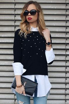 Style, Outfit, Jumper with Pearls, YSL Bag - SupperFashion Style Outfits, Mode Outfits, Casual Outfits, Fashion Outfits, Look Fashion, Girl Fashion, Autumn Fashion, Vetement Fashion, Outfit Trends