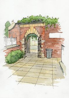 Canal Gardens, Roundhay Park, Leeds - sketch - John Edwards