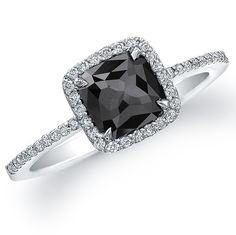 Cushion Cut Black Diamond Engagement Ring