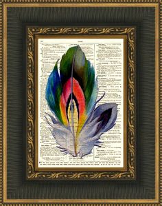 Rainbow Feather Art Print On Antique Dictionary Page