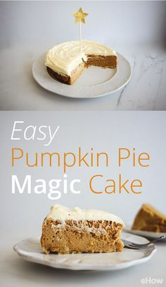 What's a pumpkin pie magic cake? It starts off as a normal cake, but during baking it turns into three layers. The bottom layer is thin, much like a standard cake. The middle layer is a rich and creamy custard-like spiced pumpkin filling. The top layer tastes like a light sponge cake, with a slightly crisp crust.