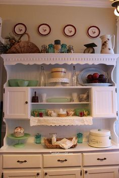 Painted Hutch and Beadboard Wallpaper. Use vintage decorations.