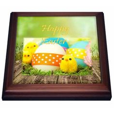3dRose Print of Adorable Baby Easter Chicks With Ribbons, Trivet with Ceramic Tile, 8 by 8-inch