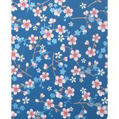 Tapetti Cherry Blossom sininen 313025 | Virkkukoukkunen