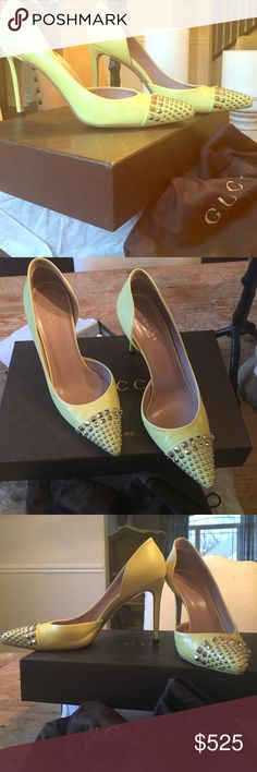 Gucci Coline Studded d'orsay pump. Near perfect The official color is called mimosa. Worn a handful of times. Just like every pair of Gucci shoes I own, these are very comfortable. Soft yellow leather pumps with studded toe tips give these proper style shoes a bit of edge. Ships with original box, dust bag, receipt and additional heel tips. THIS ITEM CANNOT BE BUNDLED Gucci Shoes Heels