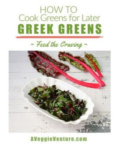 Greek Greens, how to hold dark leafy greens for later, another simple technique ♥ AVeggieVenture.com. Weight Watchers Friendly. Low Carb. Great for Meal Prep. Vegan. Gluten Free. Gluten Free Recipes, Vegan Recipes, Easy Recipes, Broccoli Raab, How To Cook Greens, Weight Watchers Meals, Vegetable Recipes, Meal Prep, Cravings