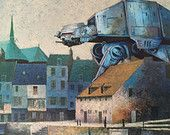 Star Wars ATAT Walker, Parody Painting 'Trapezoid' - Enhanced Thrift Art - Limited Edition Print or Poster