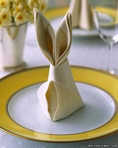 Make This Easy Bunny Napkin On Easter Sunday