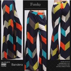 """RESTOCKED! FUNKY CHEVRON PALAZZOS! Everybody loves these! Pretty colors with a very different chevron pattern. These pants go anywhere with anything! Too long? You just cut them off! No run hem! 90% polyester, 10% spandex. NWOT                                                           ♦️2X: waist 35-46"""" hips up to 60"""" inseam 34"""" PLEASE DO NOT BUY THIS LISTING, I will personalize one for you. tla2 Pants"""