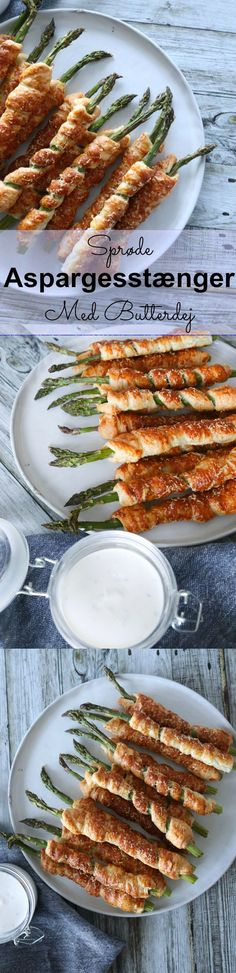 Asparagus bars wrapped in puff pastry and baked with parmesan until crispy is a heavenly snack! They can be served as welcome snacks for drinks, served on the tapas table or taken with you on tour. Tapas Buffet, 300 Calorie Lunches, New Recipes, Healthy Recipes, Recipies, Pizza Snacks, Danish Food, 300 Calories, Fabulous Foods