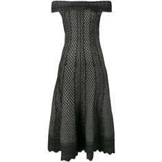 Alexander McQueen jacquard knit dress ($2,165) ❤ liked on Polyvore featuring dresses, alexander mcqueen, black, flared dresses, short sleeve flare dress, knit dress, jacquard dress and short-sleeve dresses