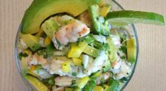 Shrimp ceviche with peppers and avocado