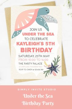 This under the Sea Birthday Invite is perfect for a little girls' birthday party. This easy to edit birthday party invitation will be a great addition to your little one's Under the Sea Birthday Party Theme. Birthday Template, Birthday Invitation Templates, Diy Invitations, Birthday Party Invitations, Birthday Party Themes, Invite, Birthday Ideas, Turtle Birthday Parties, Under The Sea Theme