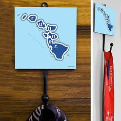Hawaii State Runner Medal Hook - This GoneForaRUN exclusive Wall Medal Display is made from hand-forged steel and features a customized printed tile.  Showcase one special medal, or stack multiple medals on the hook for easy access.