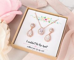 Bridesmaid Jewelry Set Rose Gold Wedding Jewelry Set Earring image 9 Rose Gold Wedding Jewelry, Rose Gold Bridal Jewelry, Wedding Necklace Set, Bridal Jewelry Sets, Crystal Wedding, Bridesmaid Jewelry Sets, Bridesmaid Earrings, Bridesmaid Gifts, Bridesmaids