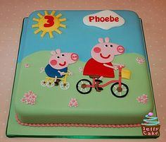 A copy of a previous cake for a huge Peppa Pig fan. Hand cut Peppa and George on their bikes! Pool Party Cakes, Pig Party, Pig Birthday Cakes, Birthday Fun, Birthday Ideas, Bolo Da Peppa Pig, Fiestas Peppa Pig, Minnie Mouse Cake, Themed Cakes