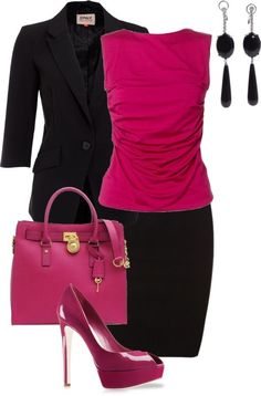Basic Black+ Color Pop. An easy way to draw attention in a professional way is by pairing a brightly colored blouse with a black suit.  The neutrals make the look traditionally authoritative, but the pink will add a touch of flair.  The matching pink shoes are nice, but you may want to opt for a more classic style instead of the platform---great change from typical boring tournament clothes beautiful clothes #fashion