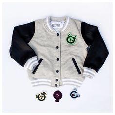 Varsity jacket (comes with 4 felt patches). Available next week!  #groundedkidswear #butimgrounded photo by @jonathanyacoub
