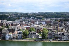 View on Namur City from the Citadel, Belgium. Houses with view over the Meuse river.