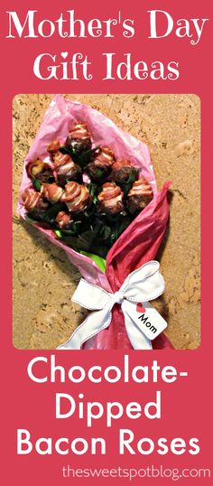 Chocolate-Dipped Bacon Roses-->Learn how to make your own or order them from us! #baconroses #chocolatebacon