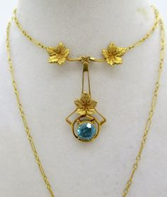 Antique Victorian 14k GOLD ZIRCON NECKLACE by DaffodilsVintage