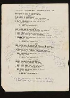 Bob Dylan lyrics being auctioned by Sotheby's.