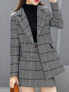 Stylewe Two-Piece Set For Women Coffee Gray Buttoned Pockets Outfits - Outfits for Work - Business Outfits for Work Korean Fashion Dress, Kpop Fashion Outfits, Suit Fashion, Korean Outfits, Mode Outfits, Fashion Tips, Hijab Fashion, Color Fashion, 70s Fashion