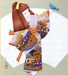 Japanese Kurumi-e Fabric (Warabe-Japanese Girls Series) - Saezuri - Best Japan